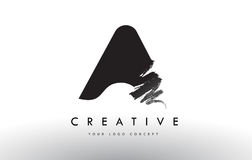 A Brushed Letter Logo. Black Brush Letters design with Brush str Royalty Free Stock Photo