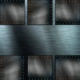 Brushed metal background with grunge metallic plates Stock Photo