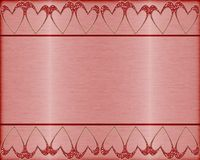 Brushed metal background with hearts Stock Photo