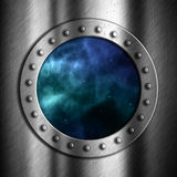 Brushed metal background with space porthole Stock Image