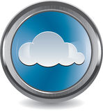 Brushed metal and chrome button with cloud Stock Images