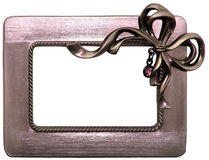 Brushed Metal Frame with Bow Royalty Free Stock Photos