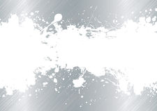 Brushed metal ink splat. Silver brushed metal background with white ink splat banner Royalty Free Stock Photo
