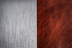 Brushed metal and leather texture Stock Photography