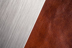 Brushed metal and leather textures Royalty Free Stock Photo