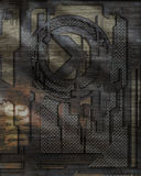 Brushed Metal Mesh Design. Mesh relief design with brushed metal texture stock illustration