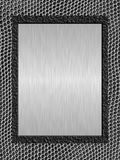 Brushed metal plate a. Shiny brushed metal plate against abstract background Stock Photos