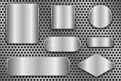 Brushed metal plates. Set of geometric shape plaques on perforated background. Vector 3d illustration Stock Images