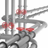 Brushed Metal Pressure Head Line. 3D render of brushed metal pressure head line tubes Stock Image