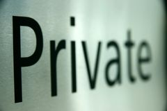 Brushed metal private sign Stock Image