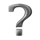 Brushed metal question mark isolated sign Stock Images