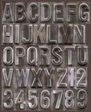 Brushed metal raised alphabet royalty free stock images