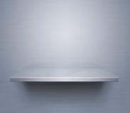 Brushed metal shelf. Empty brushed metal shelf at the wall vector illustration
