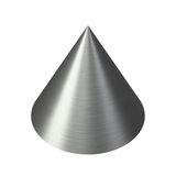 Metal cone shiny brushed texture. Isolated brushed stainless steel cone with sharp point and fine silver hairlines texture Royalty Free Stock Photos