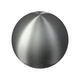 Brushed metal shiny silver sphere. Delicate stainless steel ball with fine hairline texture. Isolated on white background Stock Photography