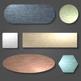 Brushed metal surface set. Brushed metal textures set. Brushed surfaces in various shapes.Vector illustration Royalty Free Illustration