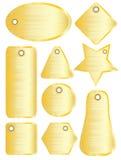 Brushed metal tags gold Stock Photos