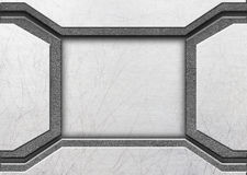 Brushed metal on textured metallic background. Stock Images