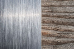 Brushed metal and wood background Royalty Free Stock Photos