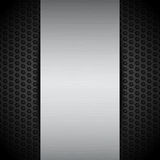 Brushed metallic panel on black mesh Royalty Free Stock Photos