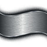 Brushed silver metal background and black halftone Royalty Free Stock Image