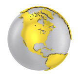 Brushed steel 3D globe gold earth crust. Isolated silver planet Earth. Glossy golden land. Metal atlas. PNG with transparent background Royalty Free Stock Photo