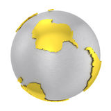 Brushed steel 3D globe gold earth crust Stock Image
