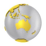 Brushed steel 3D globe gold earth crust. Isolated silver planet Earth. Glossy golden land. Metal atlas. PNG with transparent background Royalty Free Stock Photography