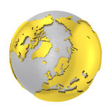 Brushed steel 3D globe gold earth crust Royalty Free Stock Photography