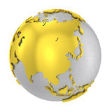 Brushed steel 3D globe gold earth crust Royalty Free Stock Images