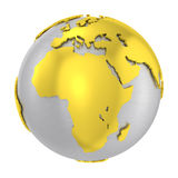 Brushed steel 3D globe gold earth crust Stock Photo