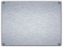 Brushed steel metal plaque Stock Photo