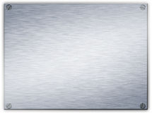 Brushed steel metal plaque. A brushed steel metal plaque with screws in the corners and beveled edge Stock Image