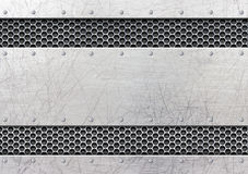 Brushed steel metal plate background with rivets. Steel frame, background old metal plate with rivets, 3d, illustration Royalty Free Stock Photo