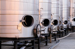 Brushed steel tanks for winemaking Stock Images
