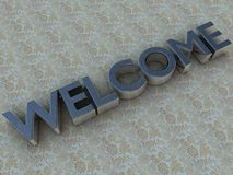 Brushed steel welcome logo Stock Photos