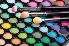 brushes ögonskuggasatsmakeup tre Fotografering för Bildbyråer