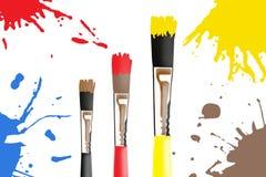 Brushes. Paint brushes illustration with radial gradation background vector illustration
