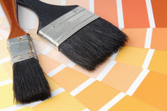 Brushes. Two brushes with different colour samples Royalty Free Stock Image