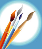 Brushes. Paint brushes illustration with radial gradation background Stock Photography