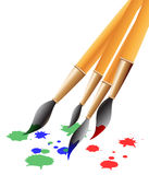 Brushes. Paint brushes illustration with radial gradation background Stock Photos
