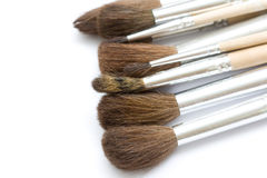 Brushes. Different thickness proffesional brushes on white background Stock Photos