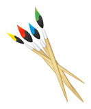 Brushes. Four color brushes - green red yellow blue Stock Photo