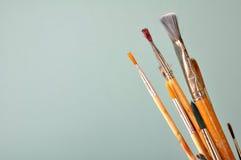 Brushes. Photo of paint brushes on plain background Stock Photography