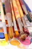 Brushes. Very closeup shot of used brushes Stock Photos