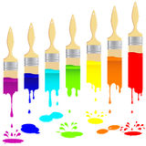 Brushes And Vertical Trail Of Paint. Stock Image