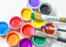 Brushes of the artist and paint. Workplace of the Creator stock image