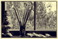 Brushes of the artist in a vase Royalty Free Stock Images
