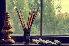 Brushes of the artist in a vase Royalty Free Stock Photo