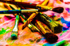 Brushes artistic background color. The means of self-expression Royalty Free Stock Photo